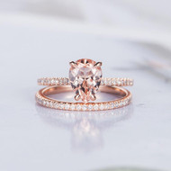 Pear Shaped Engagement Ring Morganite Ring Set