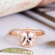 Cushion Cut Diamond Wedding Morganite Ring Set