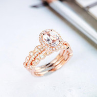 Oval Cut Diamond Wedding Engagement Ring Set