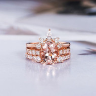 Morganite Engagement Ring Rose Gold Bridal Set