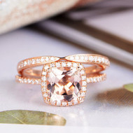 Wedding Diamond Morganite Engagement Ring Set