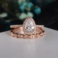 Rose Gold Moissanite Engagement Ring Set