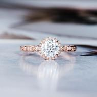 Halo Diamond Art Deco  Moissanite Ring