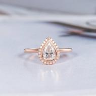 Pear Shaped Bezel Moissanite Engagement Ring