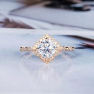 Cushion Cut Bridal Ring Women Vintage Ring