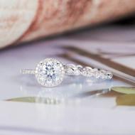 Round Cut Antique Engagement Ring Set