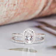 Oval Cut Halo Diamond Moissanite Ring Set