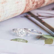 Moissanite Engagement Ring Diamond Bridal Set