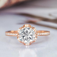 Flower Shaped Halo Diamond Engagement Ring