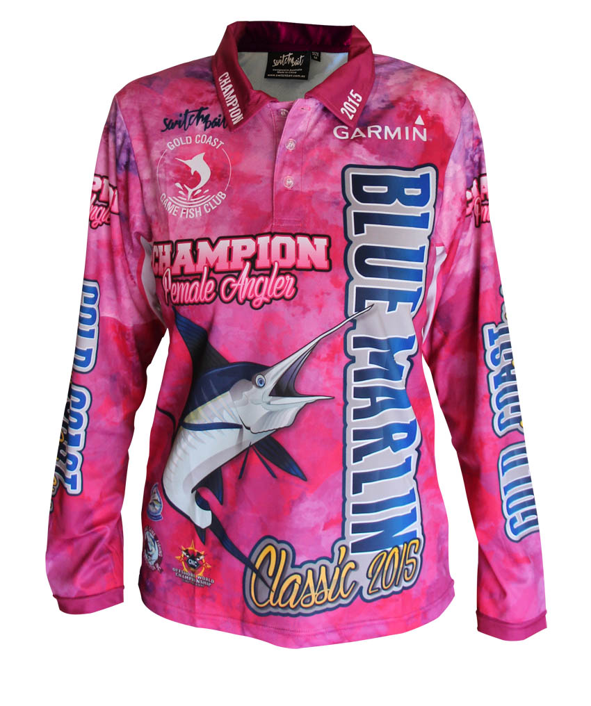 Blue marlin classic champion female switchbait custom for Two fish apparel