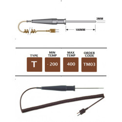 TM03 - T Type General Purpose (MI) Probe 100mm x 3mm | Thermometer Point