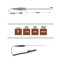 TM04 - T Type Extended Gen. Purpose (MI) Probe 300mm x 3mm | Thermometer Point