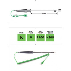 KS08 - K Type Ex-High Temperature Surface Probe 210mm x 12mm | Thermometer Point