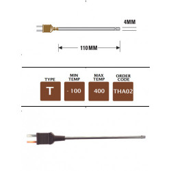 THA02 - T Type Plug Mounted Still Air Probe 110mm x 4mm | Thermometer Point