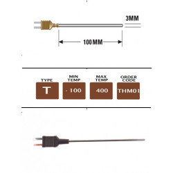 THM01 - T Type Plug Mounted G/Purpose (MI) Probe 100mm x 3mm  | Thermometer Point