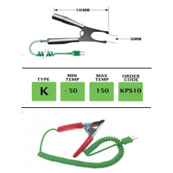 KPS10 - K Type Pipe Clamp Probe 110mm, upto 35mm max opening | Thermometer Point