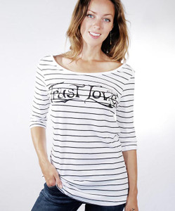 Trust Love 3/4 Sleeve Boat Neck