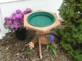 Mini Bird bath with a post, available with green or clay water pan.