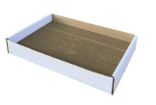 """Andevan Durable Corrugated Cardboard Cat Kitten Scratching  Board  18"""" x 12"""" x 1.18""""  with Tray"""