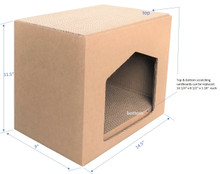 """Andevan Corrugated Cardboard Cat/ Kitten House With Scratching Pad / Board 9"""" X 14.5"""" X 11.5"""""""
