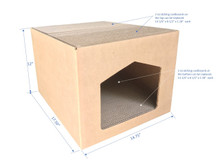 """Andevan Corrugated Cardboard Cat/ Kitten House With Scratching Pad / Board 17.50"""" X 14.75"""" X 12"""""""