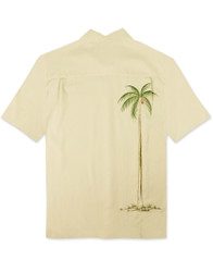 Hidden Palm Embroidered Camp Shirt by Bamboo Cay - Cream