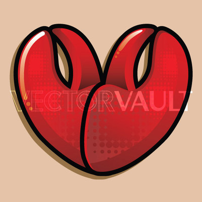 Buy Vector lobster heart love logo graphic Image search find buy free vectors - Vectorvault