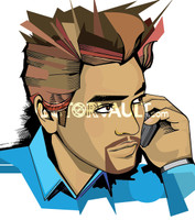 Vector man on mobile cell phone illustration