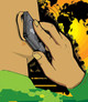 Vector man on a cell phone from the back illustration talking