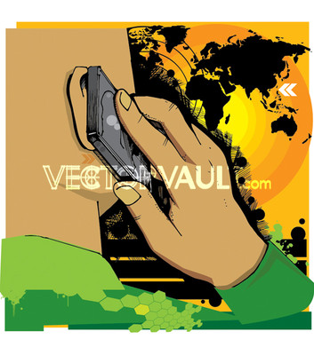 Vector man on a cell phone from the back illustration