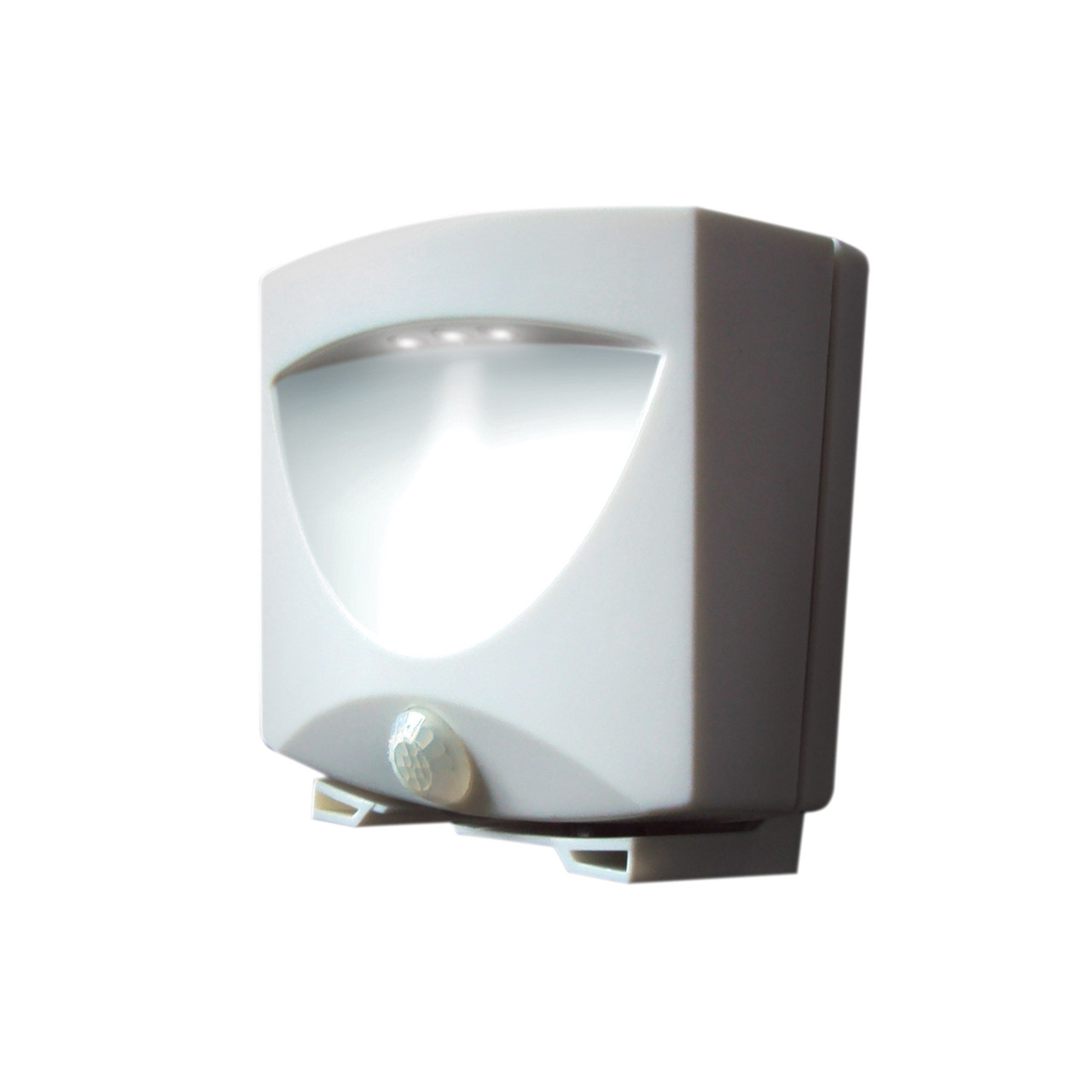 battery powered motion activated outdoor night light in white. Black Bedroom Furniture Sets. Home Design Ideas