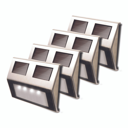 Solar-Powered Metal Deck Lights (Pack of 4)