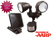 Solar Powered Dual-Head Security Light (Dk Bronze)