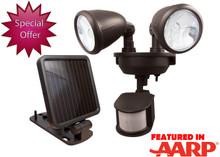 Solar Powered Dual-Head Security Light (Dk Bronze)