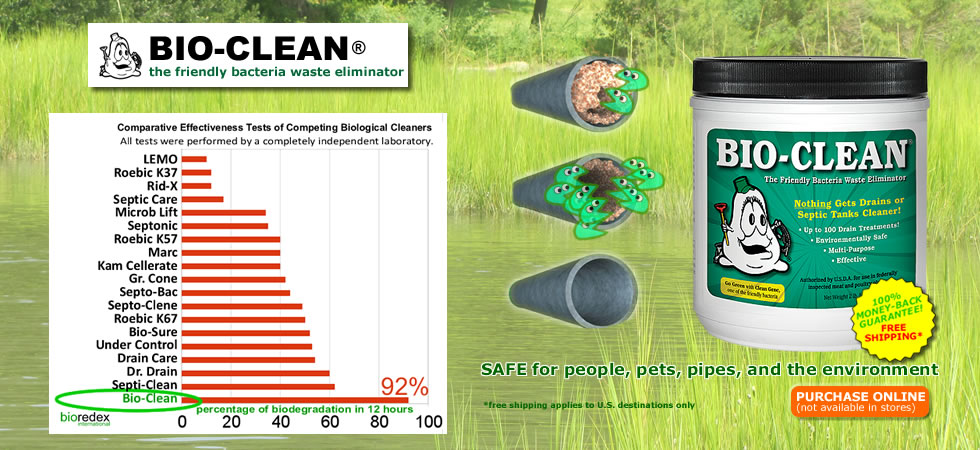The source for Bio-Clean natural drain cleaner