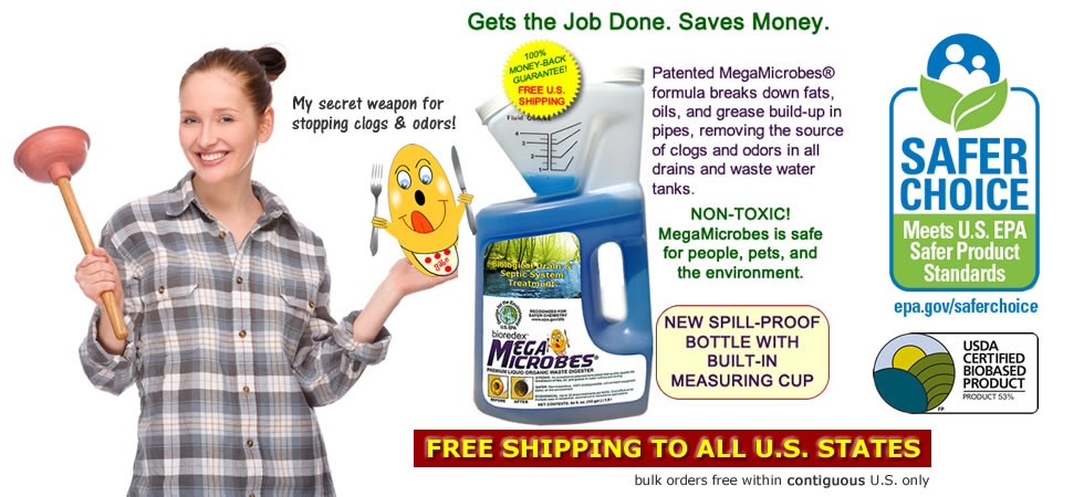 MegaMicrobes patented no-mix natural drain cleaner