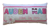 Custom Birth Announcement Pillow - Names 7-9  Letters