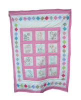 Custom Baby Quilt - Pink Cross Stitch Farm Animal Quilt