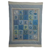 Custom Personalized ABC Baby Quilt - Blue