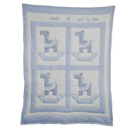 Custom Baby Quilt - Rocking Horse Blue