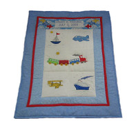 Custom Personalized Baby Quilt - Transportation