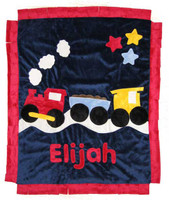 Boogie Baby Custom Blanket -  Blue Train