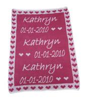 Custom Knit Personalized Baby Blanket - Heart