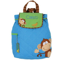 Quilted Backpack - Stephen Joseph Blue Monkey