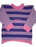 Custom Hand Knitted Cotton Baby Sweater - Purple Stripes