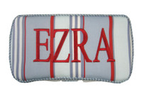 Personalized Travel Baby Wipe Case - Blue/Red Stripe