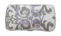 Baby Travel Wipe Case | Gray Damask
