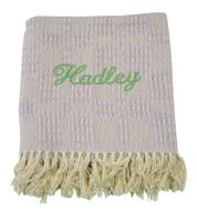 Handwoven Baby blanket | Lavender Monogrammed