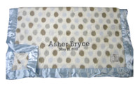 Little Giraffe Baby Blanket | Luxe Blue Dot Blanket