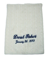 Cashmere Baby Blanket   Personalized Cream Cable Stitch